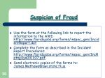 suspicion of fraud38