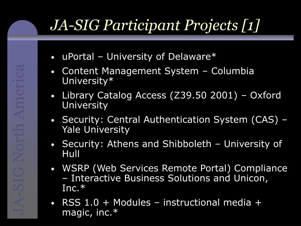 JA-SIG Participant Projects [1]