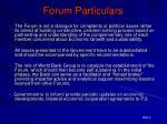 forum particulars
