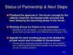 status of partnership next steps