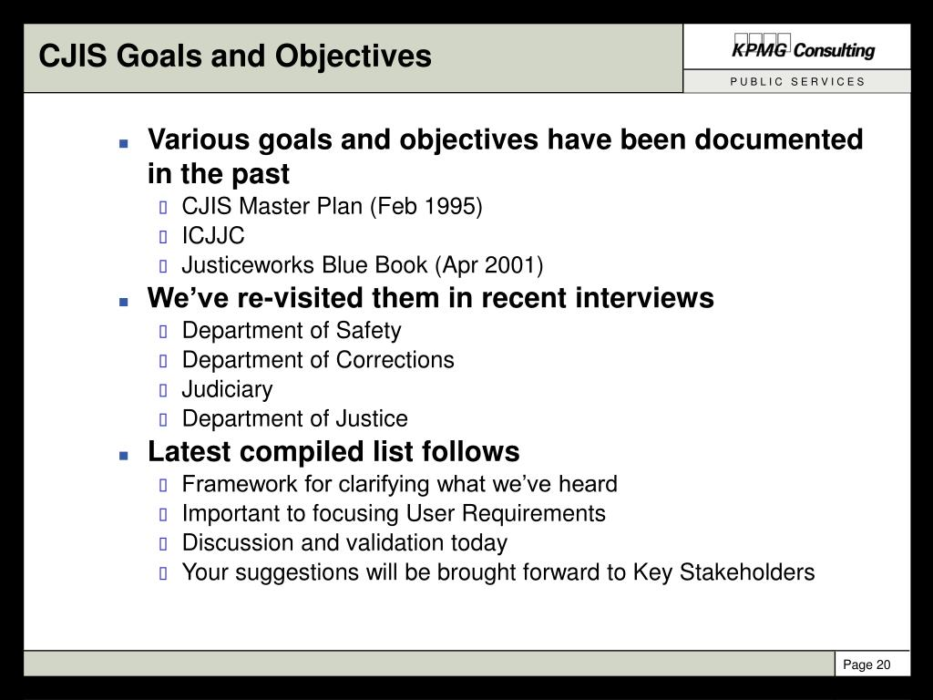 CJIS Goals and Objectives