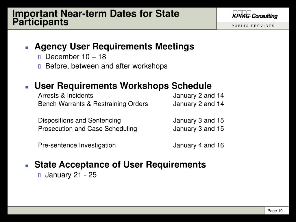 Important Near-term Dates for State Participants