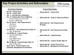 key project activities and deliverables
