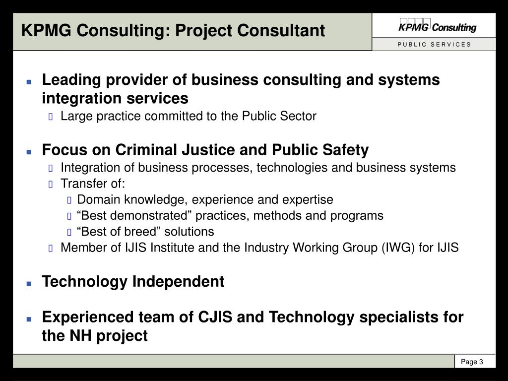 KPMG Consulting: Project Consultant