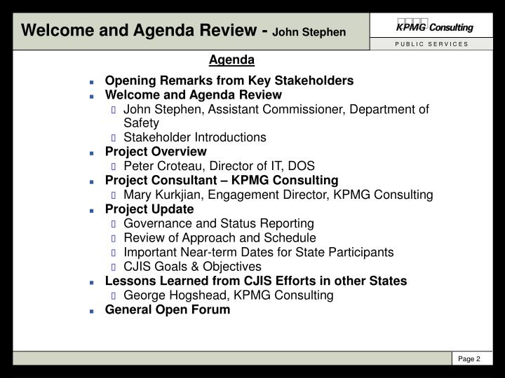 Welcome and agenda review john stephen