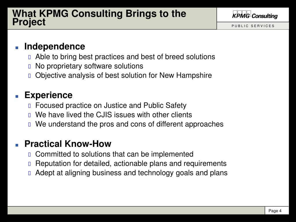 What KPMG Consulting Brings to the Project