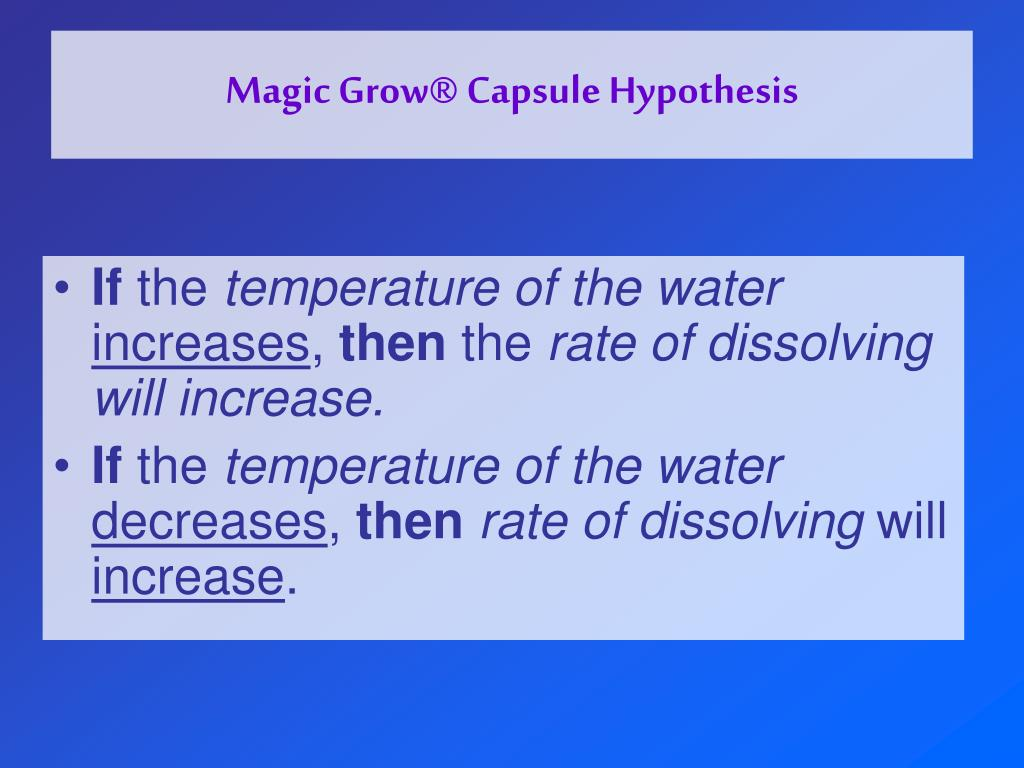 Magic Grow® Capsule Hypothesis