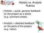 holistic vs analytic rubrics