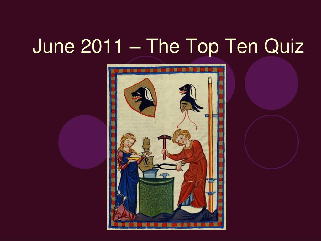 june 2011 the top ten quiz l.