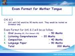 exam format for mother tongue