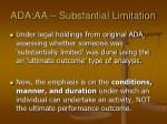 ada aa substantial limitation