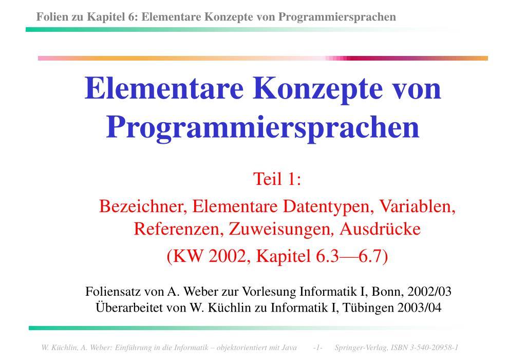 elementare konzepte von programmiersprachen l.