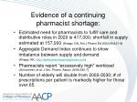 evidence of a continuing pharmacist shortage