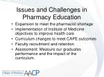 issues and challenges in pharmacy education24