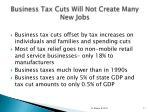 business tax cuts will not create many new jobs