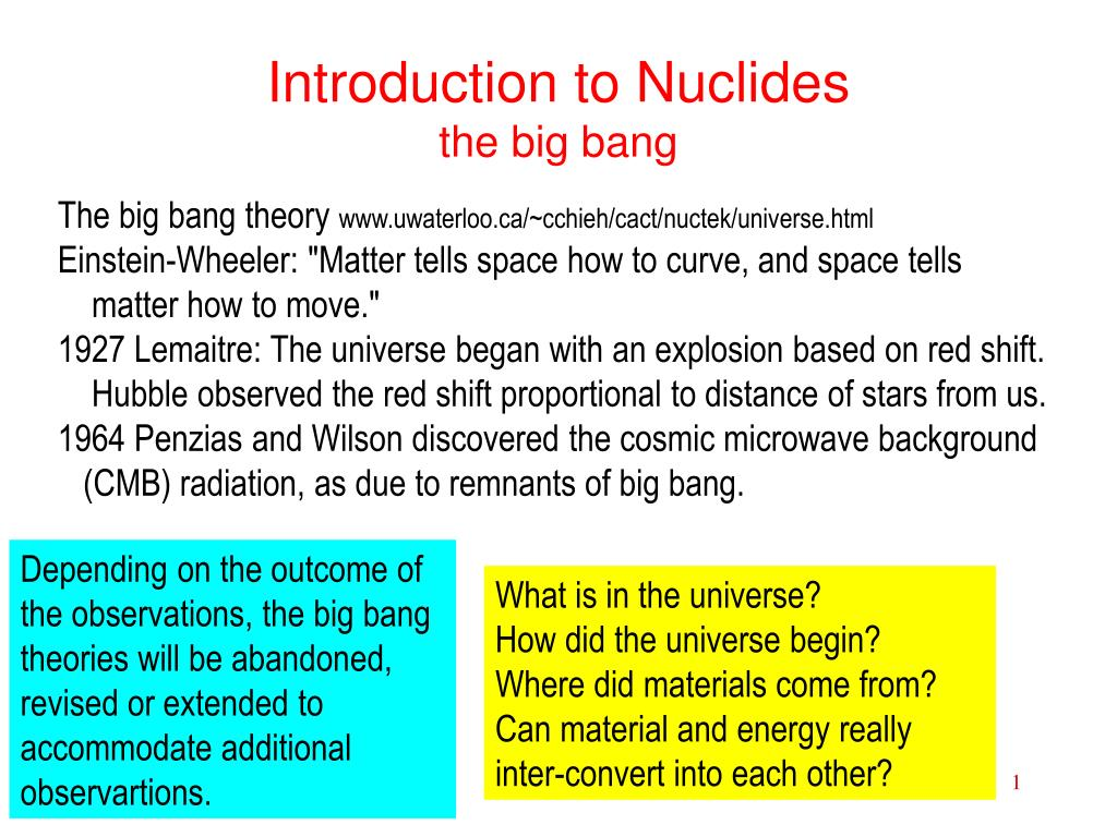 introduction to nuclides the big bang l.