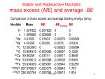 stable and radioactive nuclides mass excess me and average be