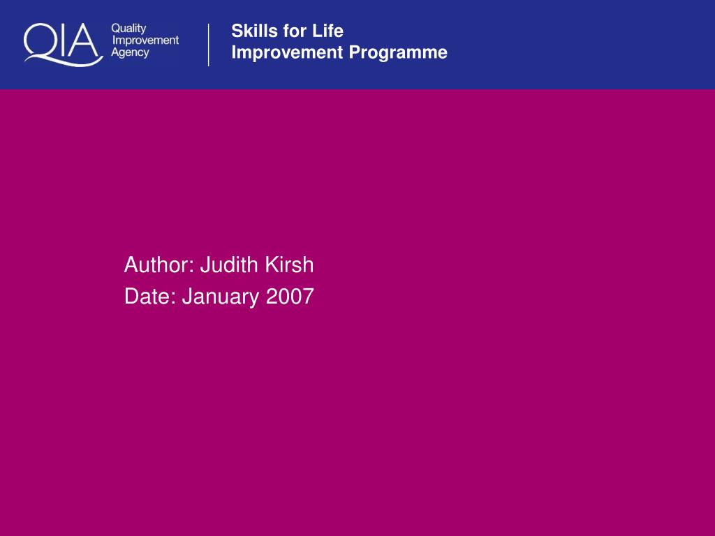 author judith kirsh date january 2007 l.