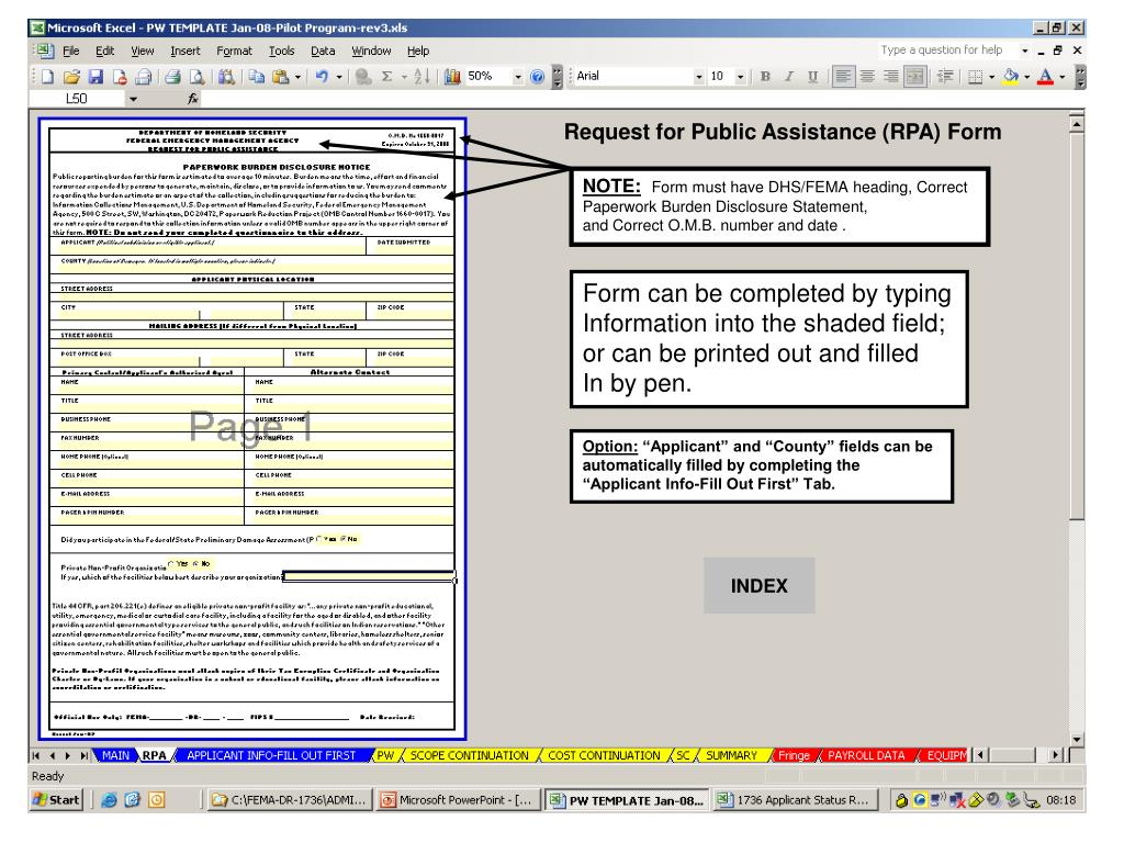 Request for Public Assistance (RPA) Form