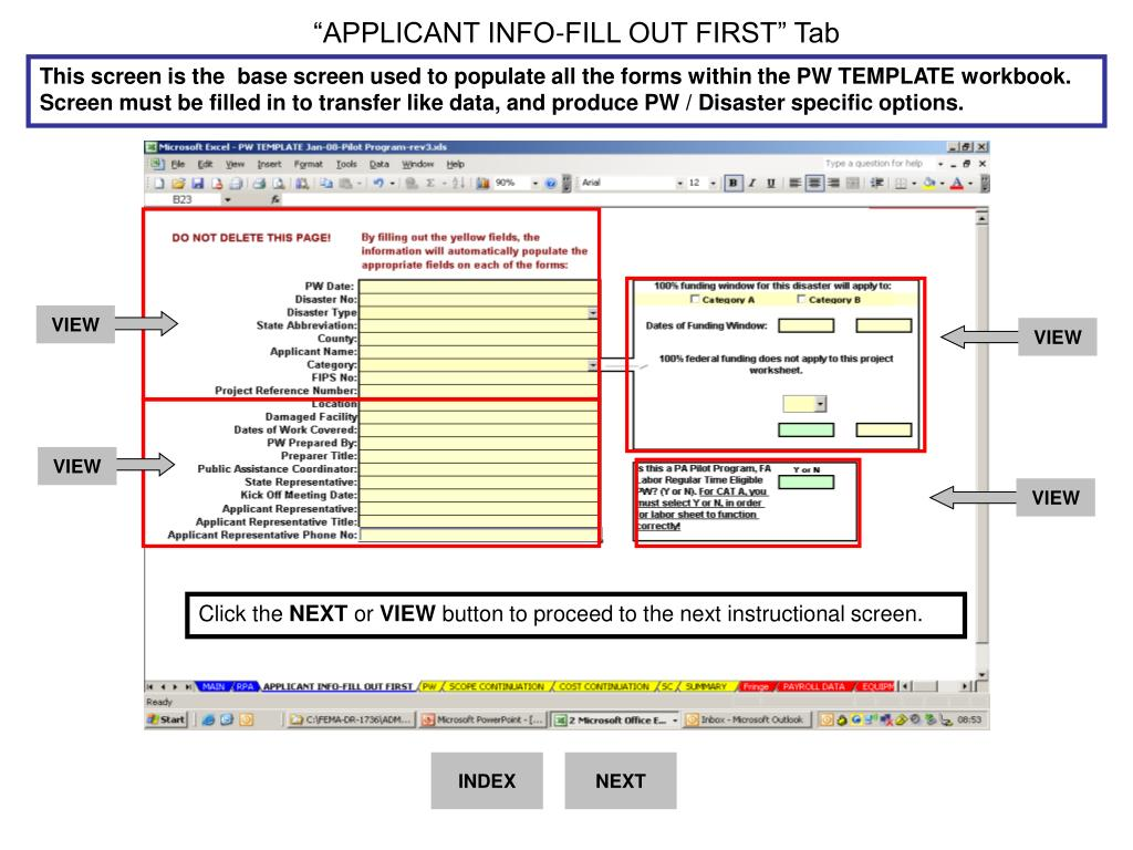 """APPLICANT INFO-FILL OUT FIRST"" Tab"