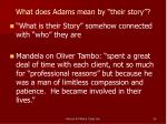 what does adams mean by their story