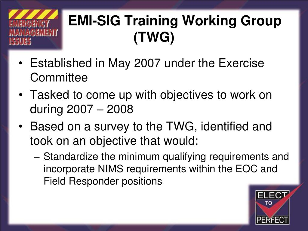 EMI-SIG Training Working Group (TWG)