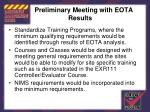 preliminary meeting with eota results