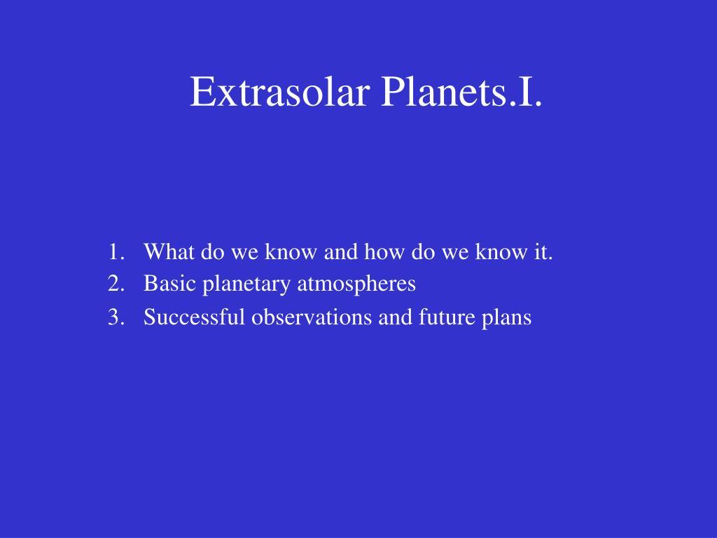 extrasolar planets i l.
