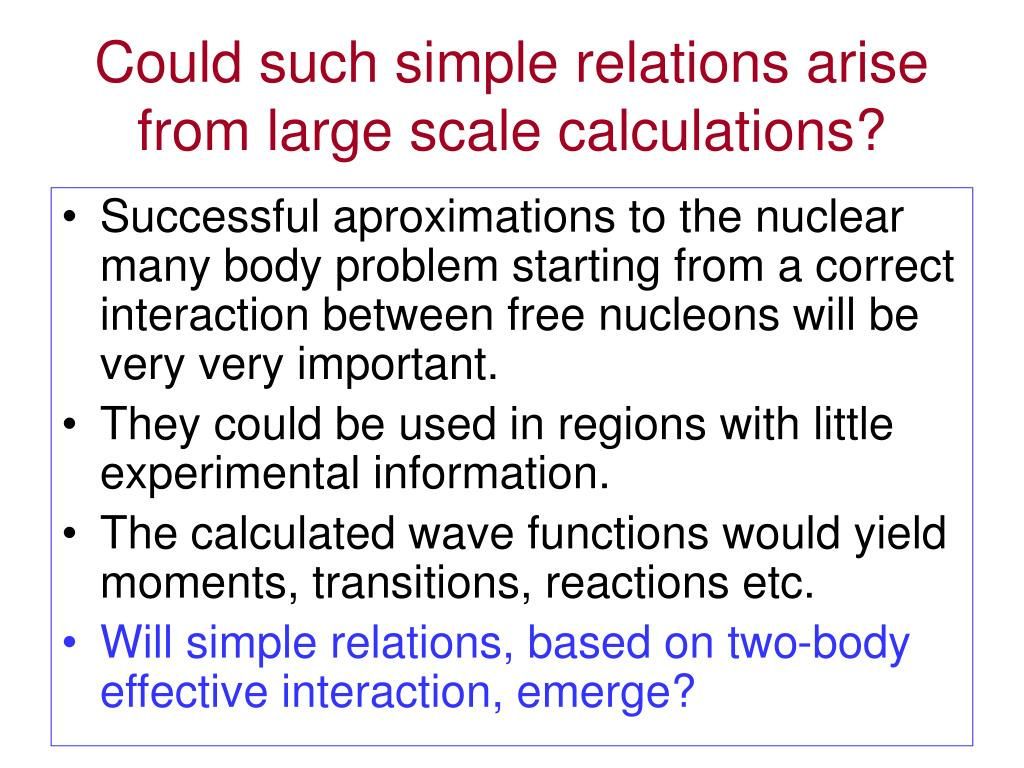 Could such simple relations arise from large scale calculations?