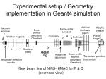 experimental setup geometry implementation in geant4 simulation