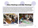 class meetings and city meetings