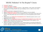 hscrc published at the hospital criteria