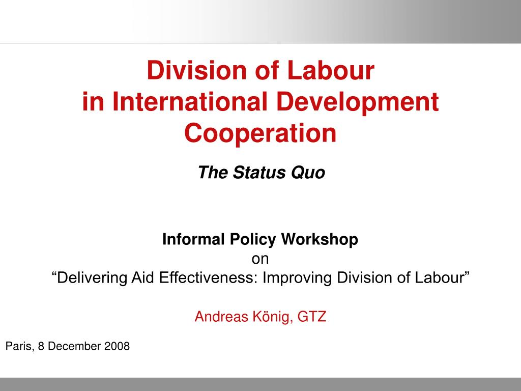 division of labour in international development cooperation l.