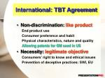 international tbt agreement