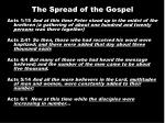 the spread of the gospel