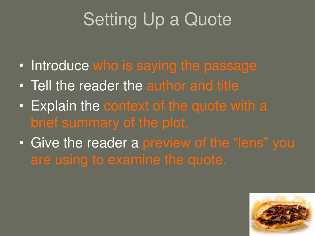 Setting Up a Quote