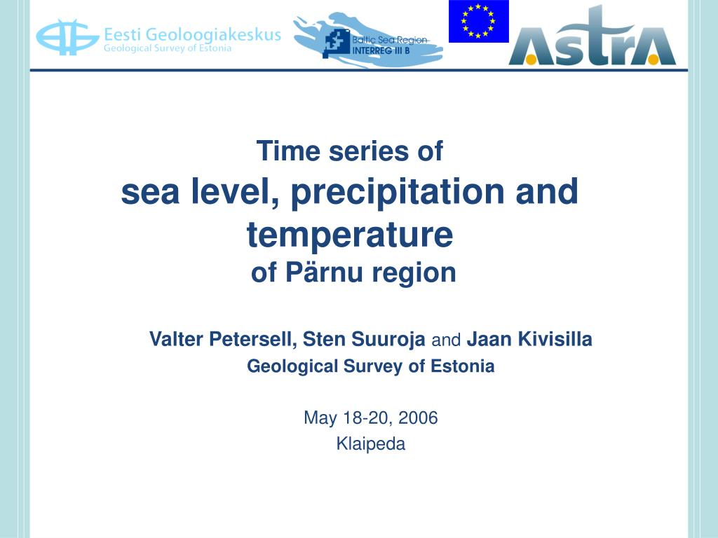 time series of sea level precipitation and temperature of p rnu region l.