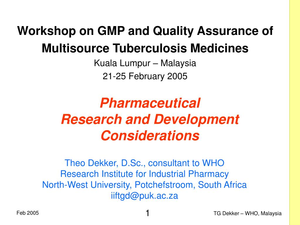 pharmaceutical research and development considerations l.
