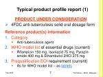 typical product profile report 1