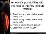 america s possibilities with the help of the fia institute mssdf