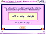 gravitational potential energy problems