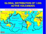 global distribution of 1 500 active volcanoes