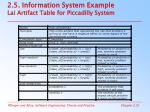 2 5 information system example lai artifact table for piccadilly system