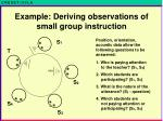 example deriving observations of small group instruction