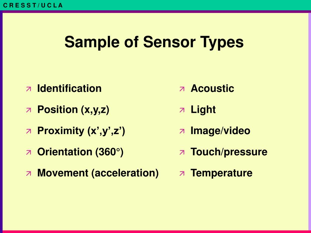 Sample of Sensor Types