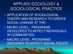 applied sociology sociological practice