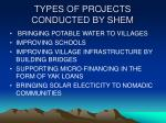 types of projects conducted by shem