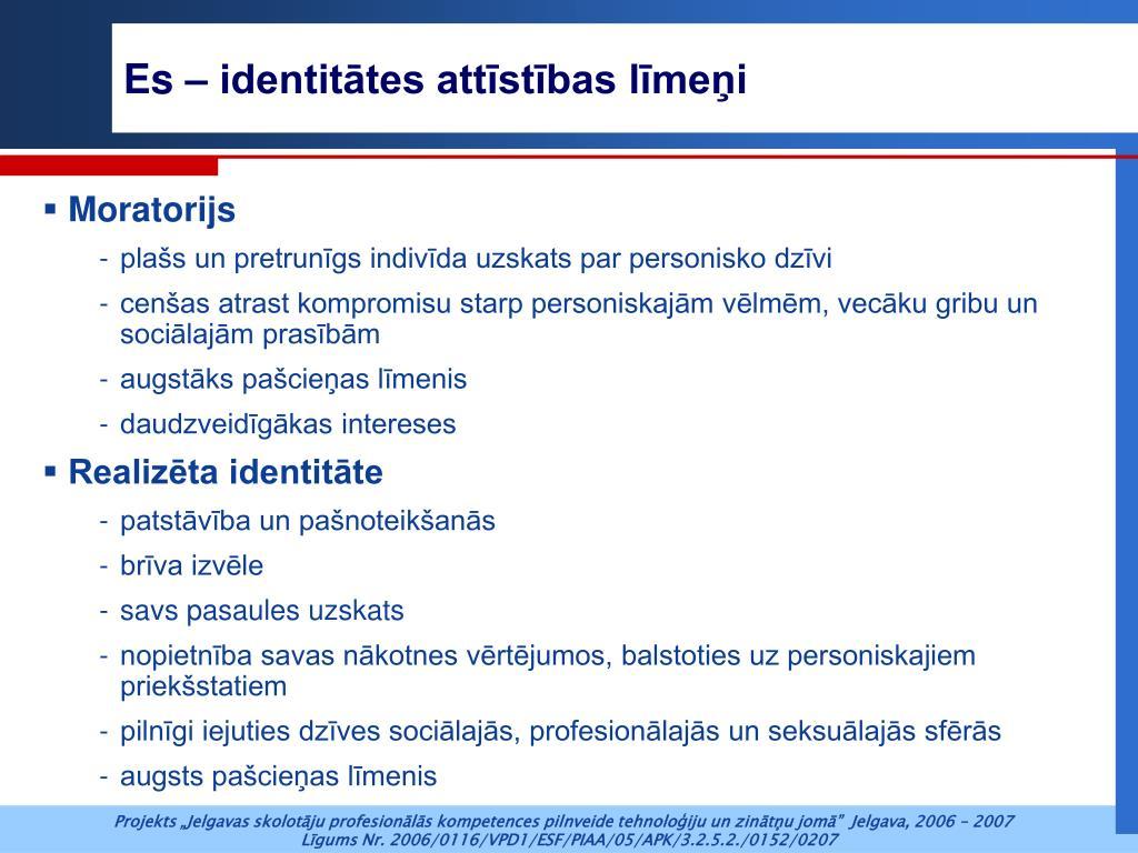 Es – identitātes attīstības līmeņi