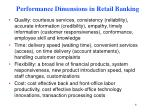 performance dimensions in retail banking