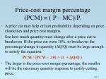 price cost margin percentage pcm p mc p